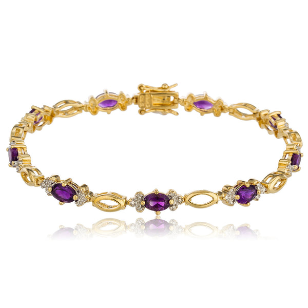 Real 925 Sterling Silver Goldtone 7.5 Inch Tennis Bracelet With Alternating Purple Cz Stones