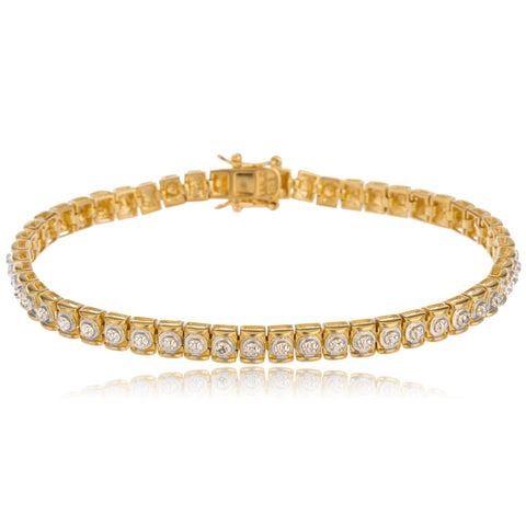 Real 925 Sterling Silver Goldtone 8 Inch Box Chain Tennis Bracelet With Round Stone Pattern