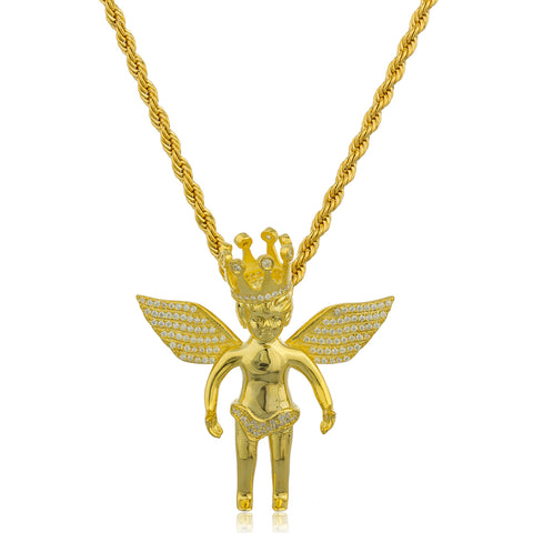 Real 925 Sterling Silver Goldtone Angel With Crown And Clear Cz Stones Micro Pendant With A 3mm Brass Rope Chain Necklace (24 Inches)