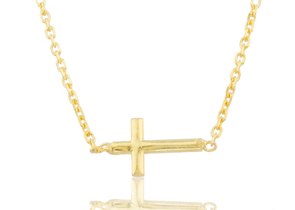 Real 925 Sterling Silver Goldtone Cross Pendant With A 17 Inch Link Necklace