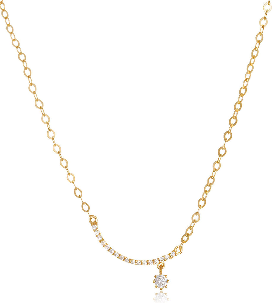 Real 925 Sterling Silver Goldtone Cz Moon And Star Pendant With An Adjustable 18 Inch Necklace