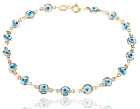 Real 925 Sterling Silver Goldtone Evil Eye Charmed 7 Inch Bracelet