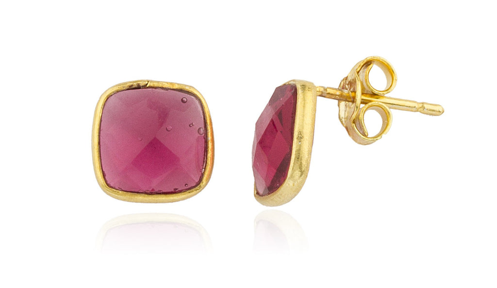Real 925 Sterling Silver Goldtone Genuin Ruby Square Stone Earrings
