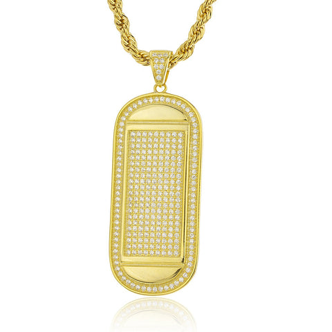 Real 925 Sterling Silver Goldtone Iced Out Cubic Zirconia Round Dog Tag Pendant With A 3mm 24 Inch Brass Rope Necklace