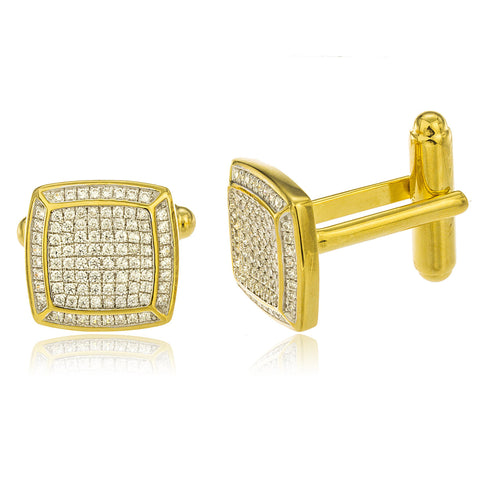 Real 925 Sterling Silver Goldtone Iced Out Fancy Square Cuff Link