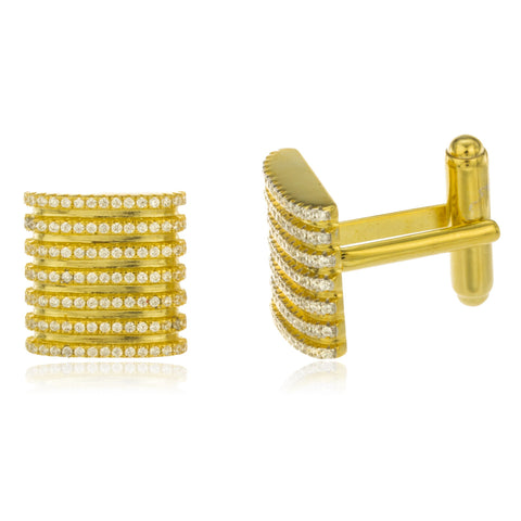 Real 925 Sterling Silver Goldtone Iced Out Seven Row Cuff Link