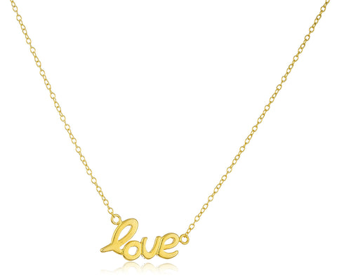 Real 925 Sterling Silver Goldtone Mini Scripted Love Pendant 18 Inch Link Necklace