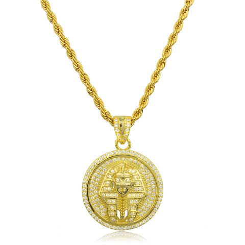 Real 925 Sterling Silver Goldtone Pharoah Micro Pendant With Clear Cz Stones And A 3mm Brass Rope Necklace (24 Inches)