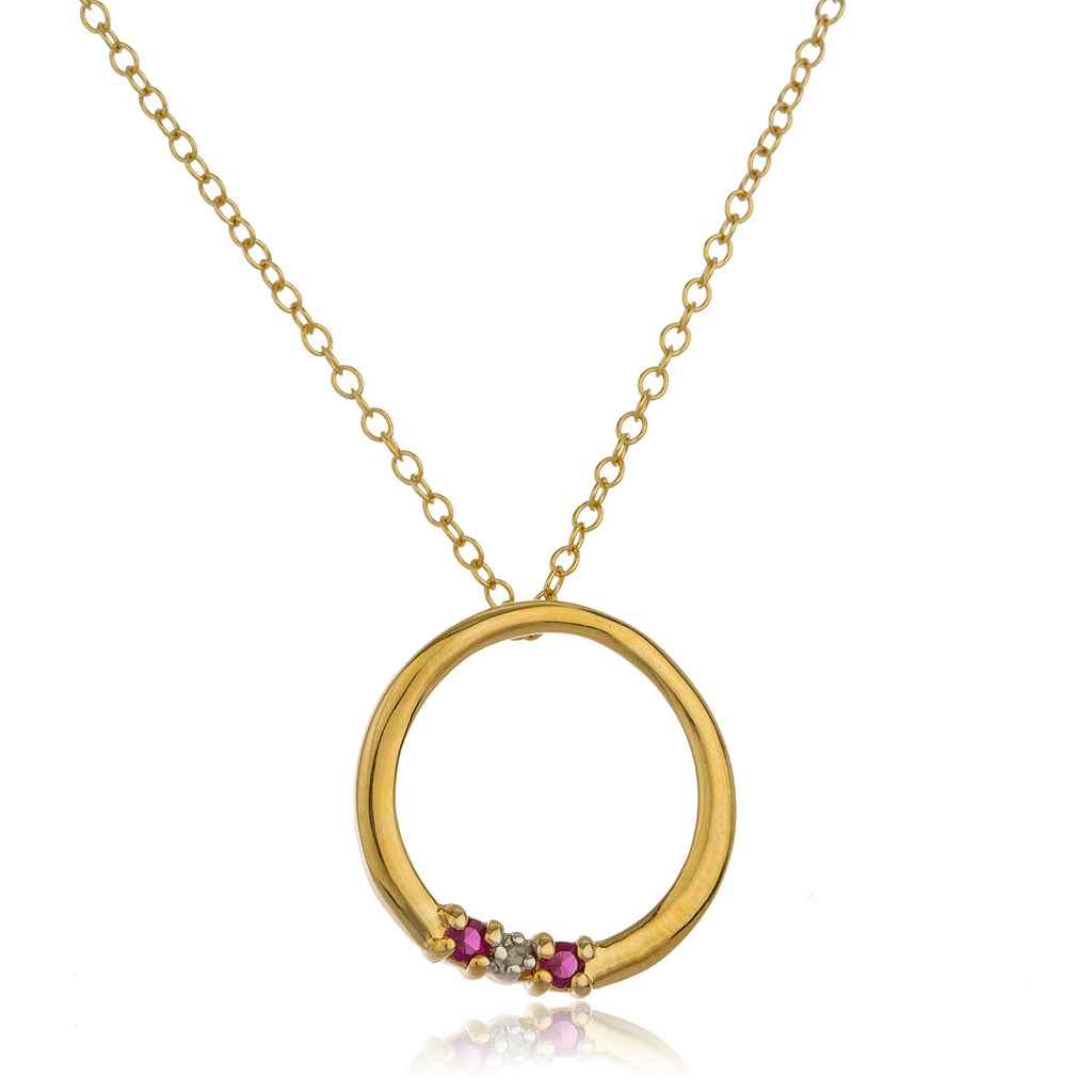 Real 925 Sterling Silver Goldtone Ring Pendant With Multicolored Cz Stones And An 18 Inch Link Necklace