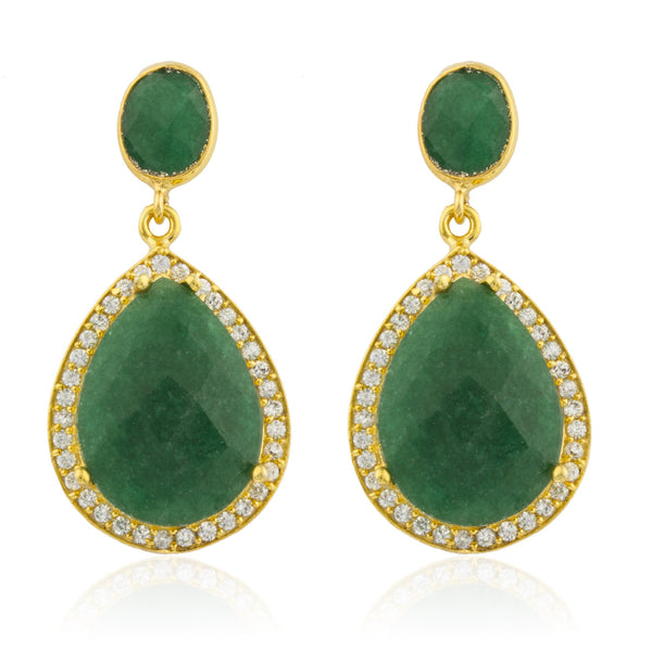 Real 925 Sterling Silver Goldtone Simulated Emerald Stone With Surrounding Cubic Zirconia Stones Earrings