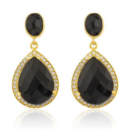 Real 925 Sterling Silver Goldtone Simulated Onyx Stone With Surrounding Cubic Zirconia Stones Earrings