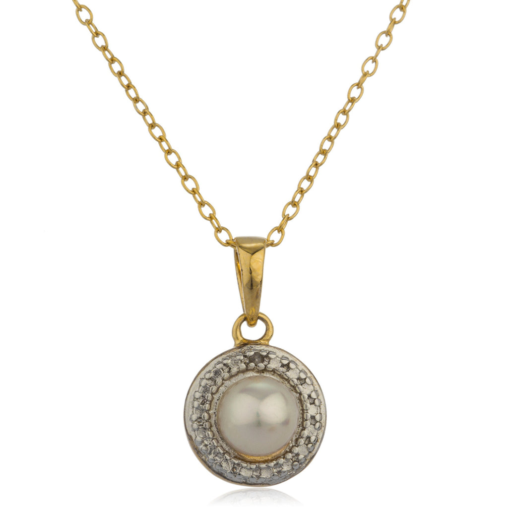 Real 925 Sterling Silver Goldtone Simulated Pearl Charm Pendant 18 Inch Link Necklace