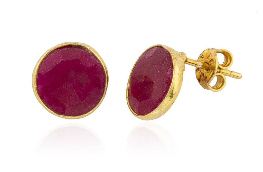 Real 925 Sterling Silver Goldtone Simulated Ruby Round Stone Earrings