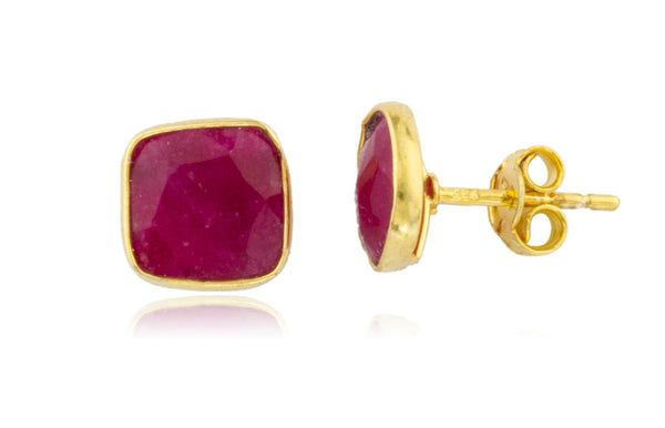 Real 925 Sterling Silver Goldtone Simulated Ruby Square Stone Earrings