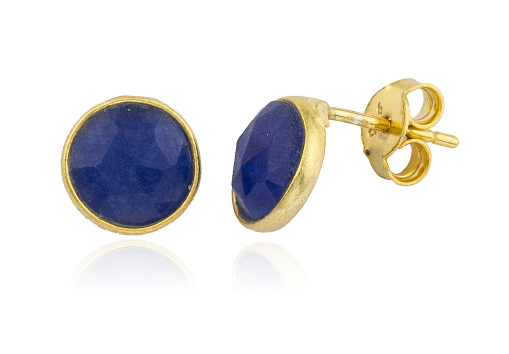 Real 925 Sterling Silver Goldtone Simulated Sapphire Round Stone Earrings