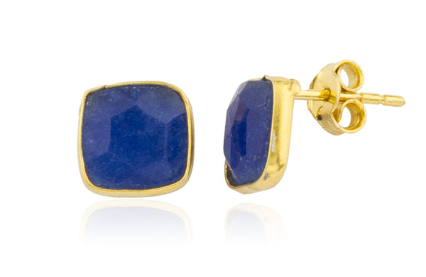 Real 925 Sterling Silver Goldtone Simulated Sapphire Square Stone Earrings