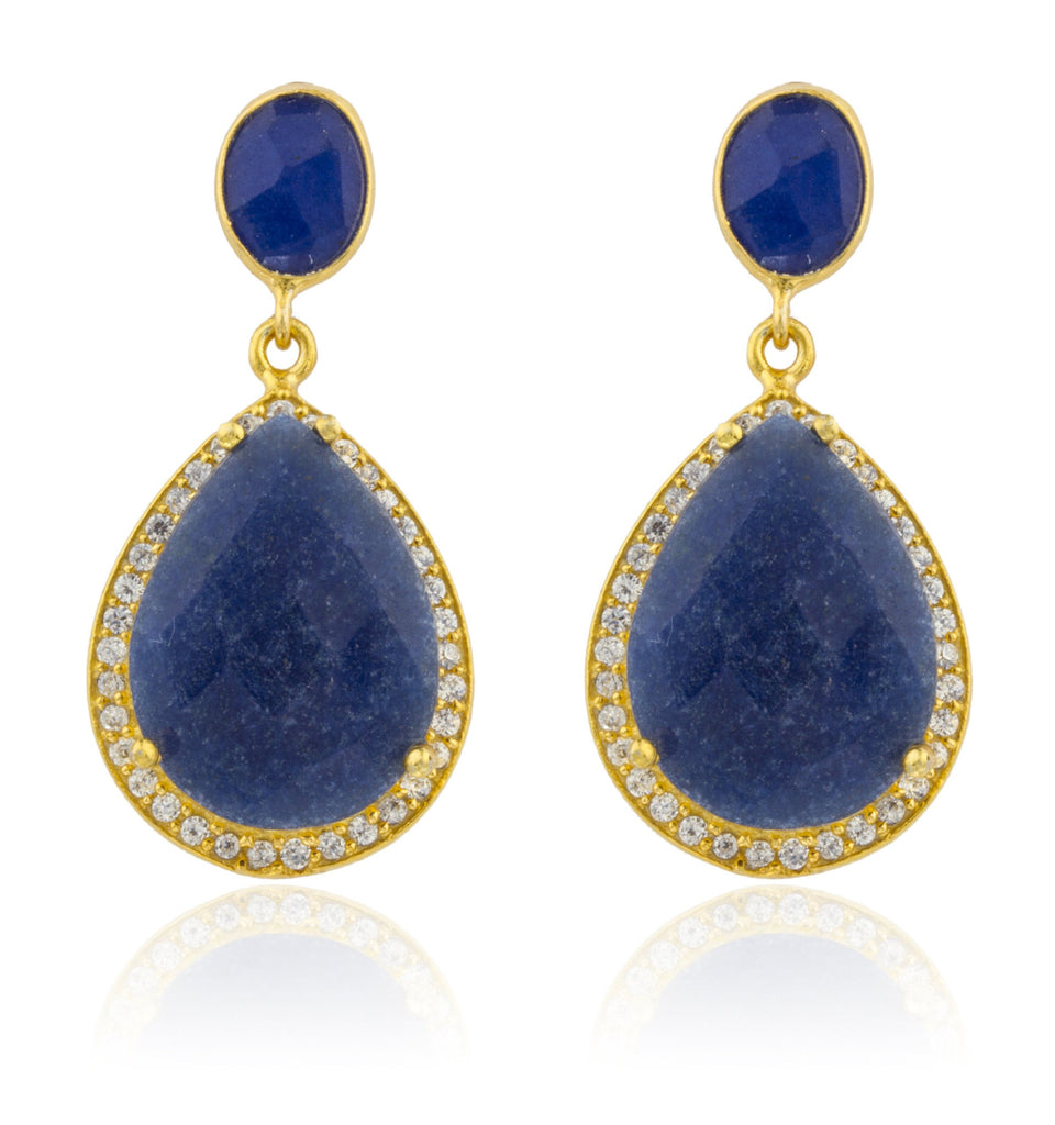 Real 925 Sterling Silver Goldtone Simulated Sapphire Stone With Surrounding Cubic Zirconia Stones Earrings