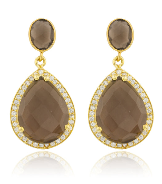 Real 925 Sterling Silver Goldtone Simulated Smokey Topaz Stone With Surrounding Cubic Zirconia Stones Earrings