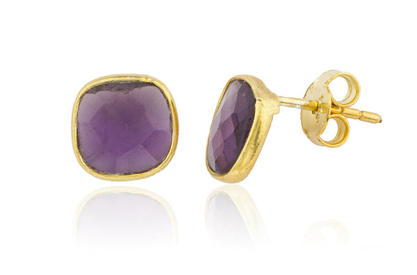 Real 925 Sterling Silver Goldtone Simulated Tanzanite Square Stone Earrings