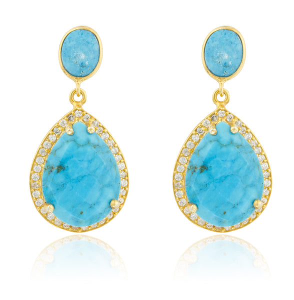Real 925 Sterling Silver Goldtone Simulated Turquoise Stone With Surrounding Cubic Zirconia Stones Earrings