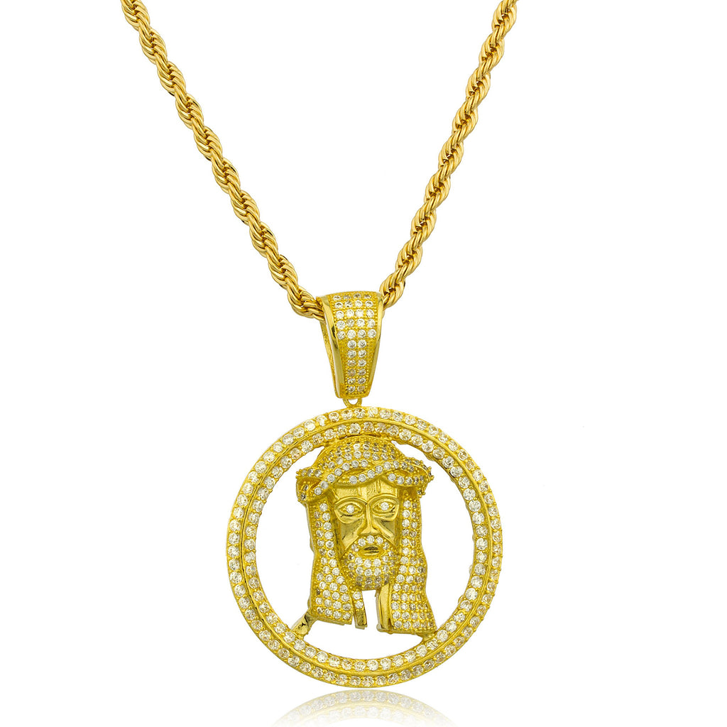 Real 925 Sterling Silver Goldtone Small 'Jesus In Halo' Pendant With Clear Cz Stones And A 3mm Brass Rope Necklace (24 Inches)