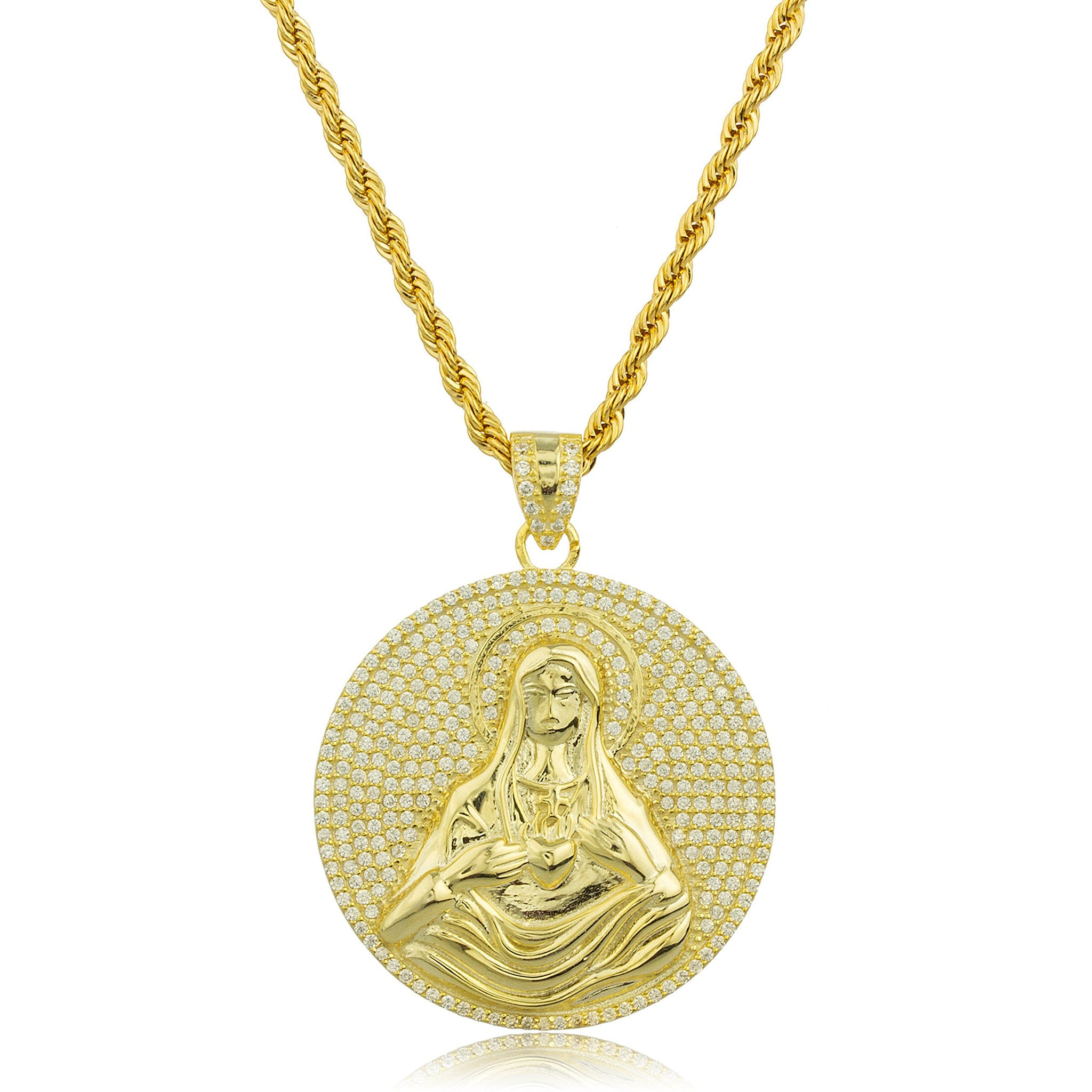 products medalla chain communion collections cadena maria plated mary pendant otoi ave hail medal necklace gold grande con with ibiza medium passion first