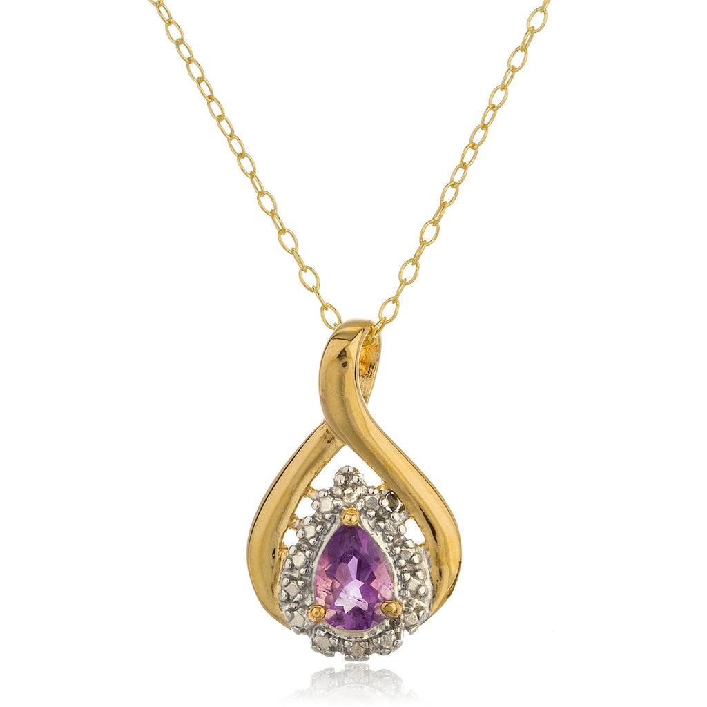 Real 925 Sterling Silver Goldtone With Purple Charm Pendant With Cz Stones And An 18 Inch Link Necklace