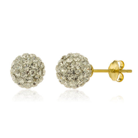 Real 925 Sterling Silver Goldtone With White 8mm Preciosa Crystals Stud Earrings