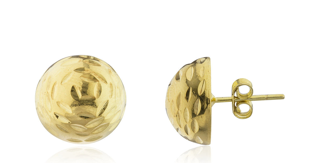 Real 925 Sterling Silver Half Ball D-Cut Stud Earrings- Available In Vermeil And Silver (12 Millimeters, Vermeil)