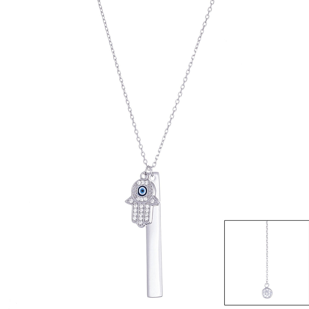Real 925 Sterling Silver Hamsa Evil Eye And Bar Charms With Dangling Cz On The Back And An 18 Inch Link Necklace