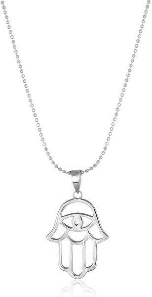 Real 925 Sterling Silver Hamsa Evil Eye With An 18 Inch Ball Necklace (Silver)