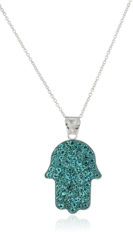 Real 925 Sterling Silver Hamsa Hand Pendant With Blue Stones And An 18 Inch Link Necklace