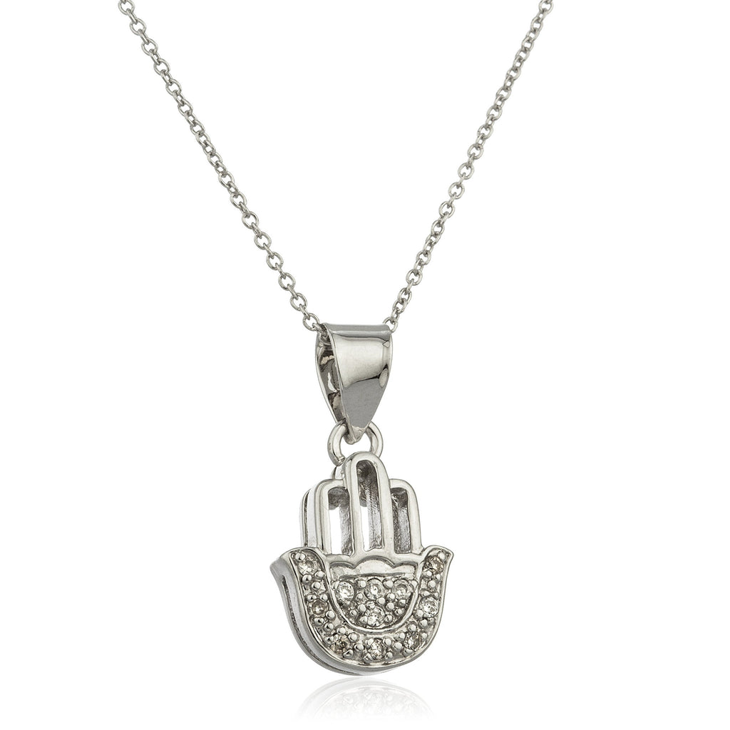 Real 925 Sterling Silver Hamsa Micro Pendant With Cz Stones And An 18 Inch Link Necklace