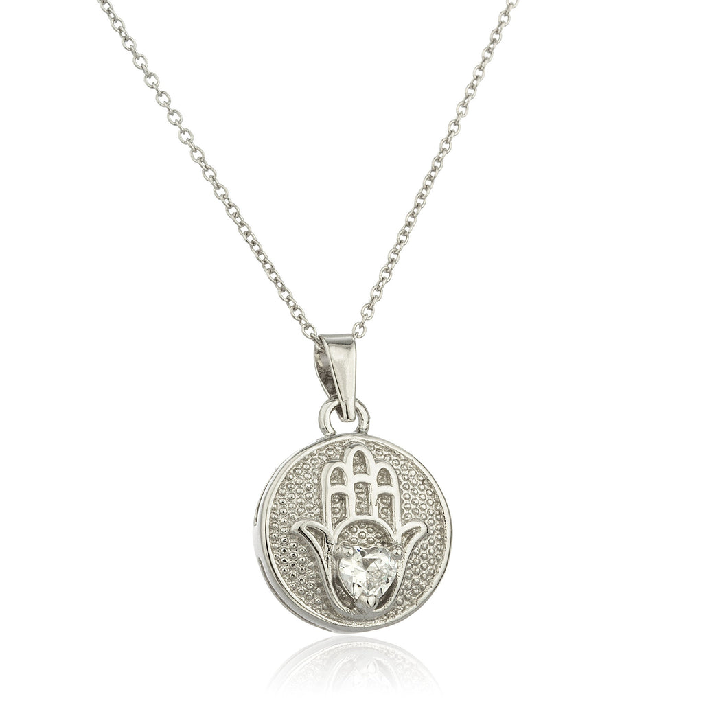 Real 925 Sterling Silver Hamsa Round Micro Pendant With Centered Cz Stone And An 18 Inch Link Necklace