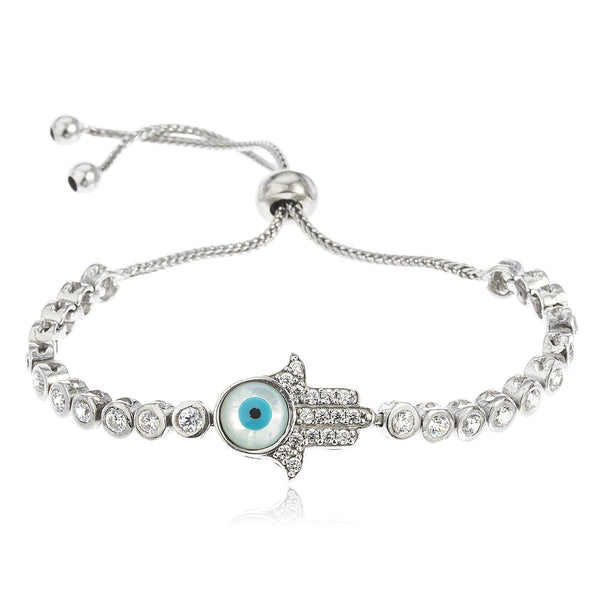 Real 925 Sterling Silver Hamsa With Eye Bezel Cubic Zirconia Adjustable 8 Inch Bracelet