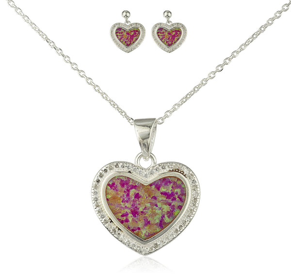 Real 925 Sterling Silver Heart Created Opal Necklace With Matching Stud Earrings Jewelry Set (Pink)