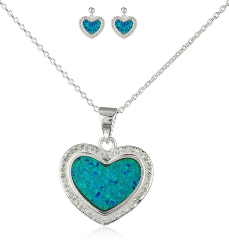 Real 925 Sterling Silver Heart Created Opal Necklace With Matching Stud Earrings Jewelry Set (Turquoise)