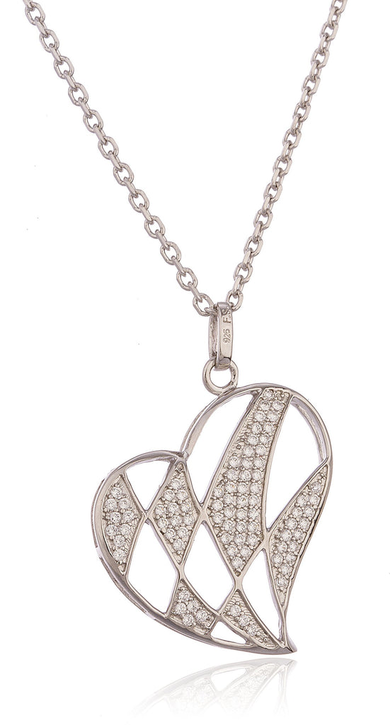 Real 925 Sterling Silver Heart Pattern Pendant With Cubic Zirconia Stones And An 18 Inch Link Necklace