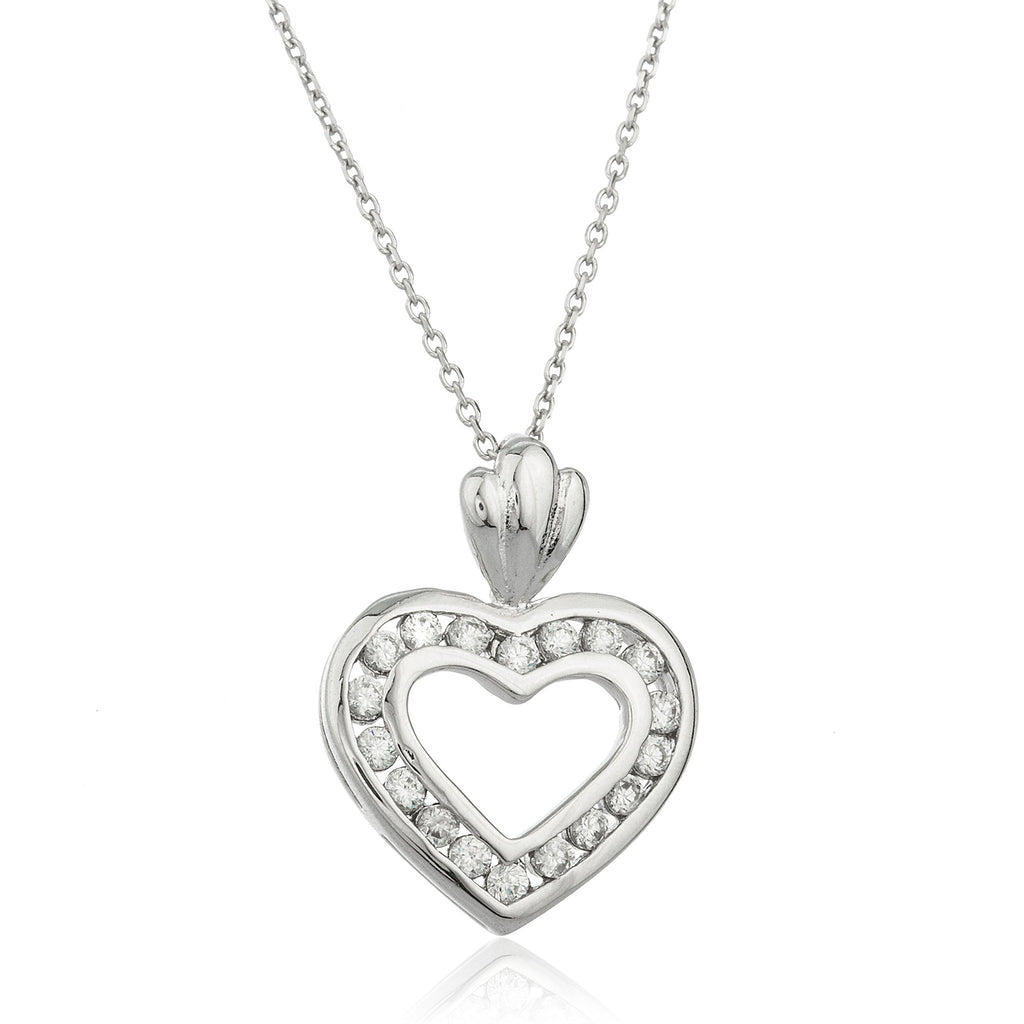Real 925 Sterling Silver Heart Pendant With Defined Cz Stones And An 18 Inch Link Necklace