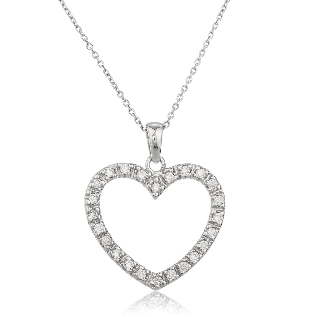 Real 925 Sterling Silver Heart Rim Pendant With Cz Stones And An 18 Inch Link Necklace