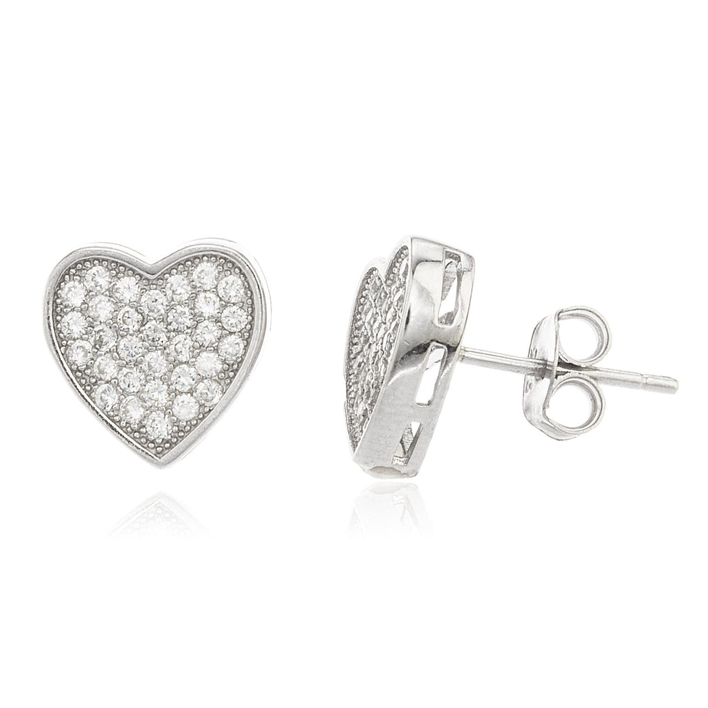 Real 925 Sterling Silver Heart Studs With Clear Cz Stones 10 Mm Earrings