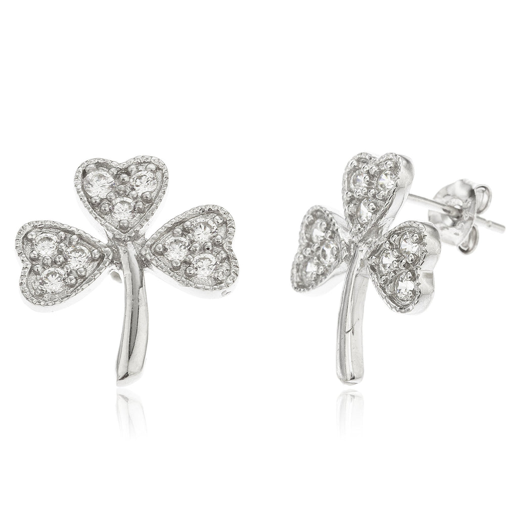 Real 925 Sterling Silver 'Hearts Of The Clover' With Clear Cz Stones Stud Earrings