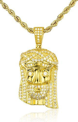 Real 925 Sterling Silver Iced Cubic Zirconia Jesus With Studded Eyes Pendant With A 3mm 24 Inch Brass Rope Necklace