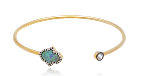 Real 925 Sterling Silver  Created Opal Hamsa Cuff Bangle Bracelet With Cubic Zirconia Stones (Goldtone)