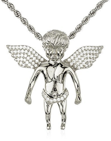 Real 925 Sterling Silver Iced Out Cubic Zirconia Baby Angel Pendant With A 3mm 24 Inch Brass Rope Necklace (rhodium-plated-silver)