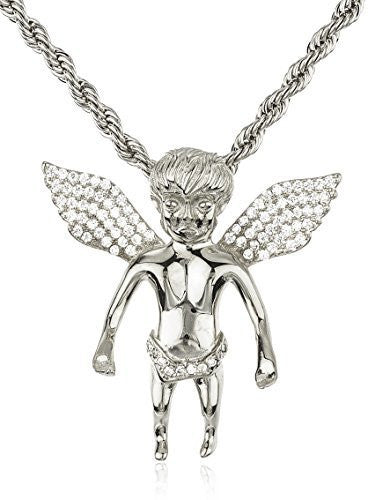 Real 925 Sterling Silver Iced Out Cubic Zirconia Mini Baby Angel Pendant With A 3mm 24 Inch Brass Rope Necklace (rhodium-plated-silver)