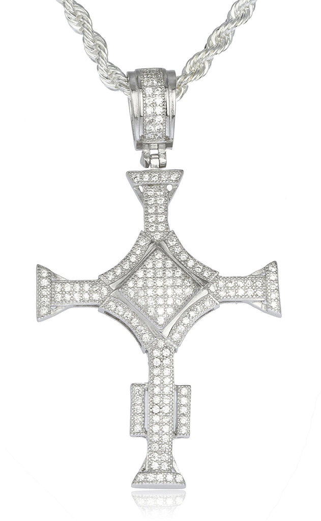 Real 925 Sterling Silver Iced Out Cubic Zirconia Triangular Cross Pendant With A 3mm 24 Inch Brass Rope Necklace (Silver W/ Clear)