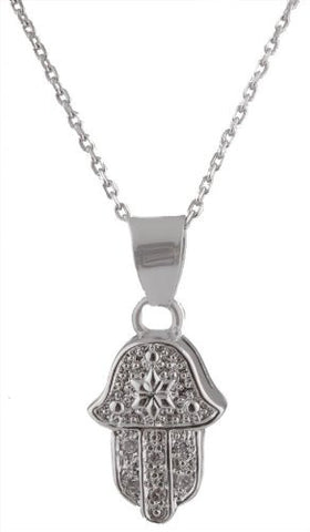 Real 925 Sterling Silver Iced Out Hamsa Pendant With Centered Star 18 Inch Cable Chain Necklace