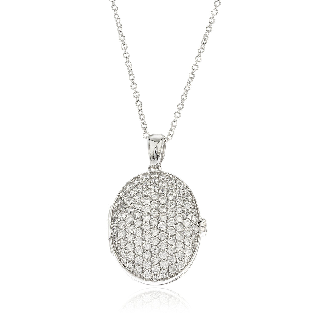 Real 925 Sterling Silver Iced Out Oval Locket Pendant With A 16 Inch Rolo Chain Necklace