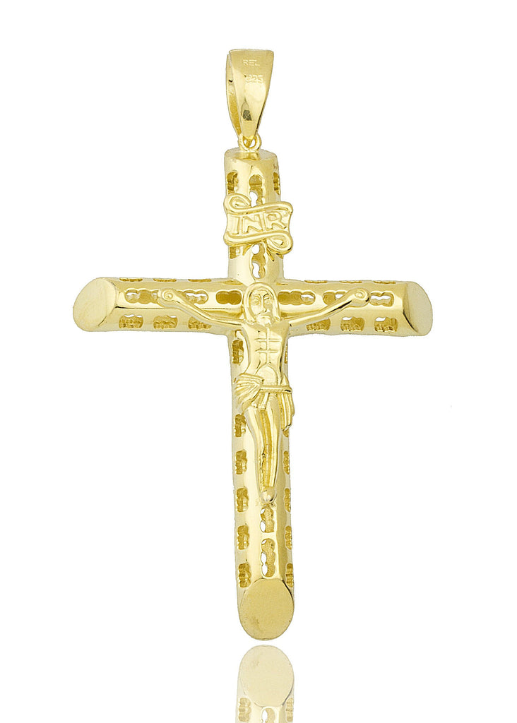 Real 925 Sterling Silver INR Jesus On Cross Pendant With A 24 Inch Brass Moon Cut Necklace (Gold Plated)